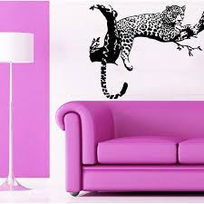 Shop Leopard Relaxing On A Tree Wild Animals Vinyl Sticker Art Mural Kids Room Interior Desig Sticker Decal Size 22x22 Color Black Overstock 14732798