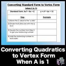 converting quadratic equations from