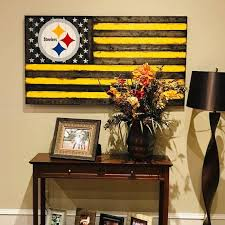 Wooden Rustic Style Pittsburgh Steelers American Flag Etsy