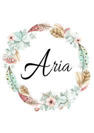 Personalized Name Aria Boho Watercolor Botanical Feather Etsy