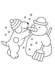 Kleurplaat Winter Dribbel Maakt Sneeuwpop Met Afbeeldingen