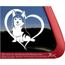 Corgi Love Heart High Quality Vinyl Sitting Pembroke Welsh Corgi Dog Window Decal Walmart Com Walmart Com