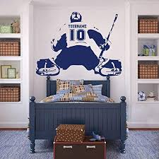 Amazon Com Hockey Goalie Wall Decal Custom Name Number Ice Hockey Decal Personalized Jersey Hockey Sport Wall Sticker Vinyl Art Mural Home Decor Made In Usa Kitchen Dining