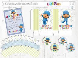 Kit Imprimible Personalizado Candy Bar Pocoyo Completo