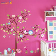 Tree On Bright Pink Wall Owl Tree Wall Decal Nursery Wall Decals Sticker Decor