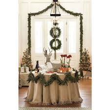 114 round burlap tablecloth with 6 inch