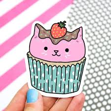 Cupcake Cat Sticker Kitty Sticker Sweet Cat Cupcakes Cute Cat Sticker Cat Cupcake Kawaii Car Decal Laptop Stickers Gift For Her Birthday Day Gift Handmade Cjp Org In