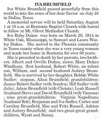 Obituary - Iva Dukes White Brumfield (hsbnd Aubrey Manor Brumfield ...