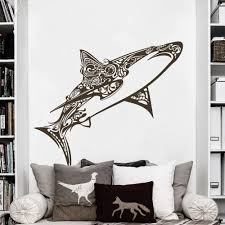 Amazon Com Great White Shark Vinyl Wall Decals Children Bedroom Wall Sticker Awesome Shark Creatures Decor Large Dark Brown Home Kitchen