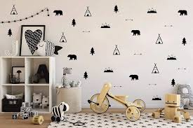 Woodland Wall Decal Bears Arrow Teepee Tree And Mountain Decor Matte Vinyl Wall Stickers For Baby Bedroom Nursery Decor B143 Wall Stickers Aliexpress