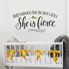 And Though She Be But Little She Is Fierce Shakespeare Wall Etsy In 2020 Nursery Wall Art Girl Baby Girl Nursery Wall Art Girl Nursery Wall