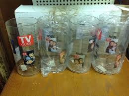 tv guide plastic drinking glass