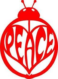 Ladybug Red With Peace Sign On Back Vinyl Car Window Sticker Cutout Ebay