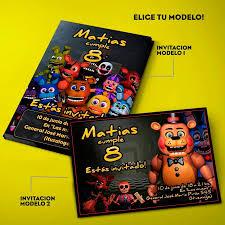 Invitaciones Five Nights At Freddy S Fnaf X 20 Impresas 330 00