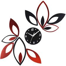 Amazon Com Toprate Mirror Wall Clock Red And Black Rhombus Leaves Sticker Decoration Home Kitchen