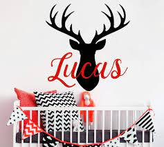 Amazon Com Deer Wall Decal Name Wall Decals Vinyl Stickers Hunting Themed Woodland Nursery Decor Boy Name Decal Deer Antlers Decor And Stick Wall Decals Home Kitchen