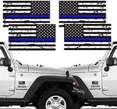 Creatrill Reflective Us Flag Decal Packs With Thin Blue Line For Cars Trucks Chengyuan 5 X 3 Inch American Usa Flag Decal Sticker Honoring Police Law Enforcement 3m Vinyl Window Bumper