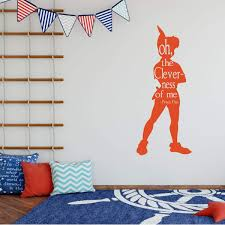 Amazon Com Wall Decal Silhouette Oh The Cleverness Of Me Peter Pan Kids Room Or Playroom Handmade