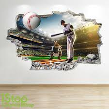 Baseball Wall Sticker 3d Look Boys Kids Bedroom Sport Wall Decal Z527 Ebay