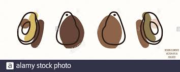 Avocado Fruit Gender Neutral Baby Illustration Clipart Simple Whimsical Minimal Earthy 2 Tone Color Kids Nursery Room Decor Print Or Cartoon Animal Stock Vector Image Art Alamy