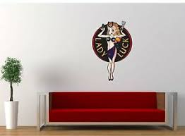 Lady Luck Sexy Pin Up Vinyl Decal Sticker 17 X25 Retro Vintage Wall Removable Ebay