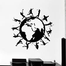 Sports Wall Decals Art Healthy Lifestyle Wall Sticker Earth Wall Decor Art Mural Living Room Bedroom Removable Wall Decal H090 Removable Wall Decals Sports Wall Decalswall Decals Aliexpress
