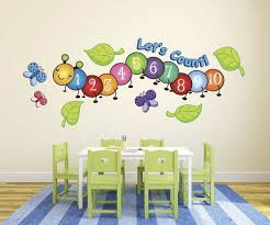 Cute Centipede Number Count Butterflies Wall Decal Preschool Decor Childrens Wall Decor Daycare Decor