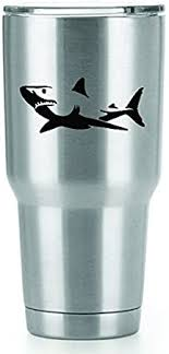 Amazon Com Great White Shark Vinyl Decals Stickers 2 Pack Yeti Tumbler Cup Ozark Trail Rtic Orca Decals Only Cup Not Included 2 4 X 1 75 Inch Black Decals Kcd1104 Automotive