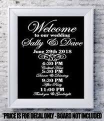 Custom Wedding Decal Welcome Program Personalized Vinyl Sign Mirror Chalk Board Ebay