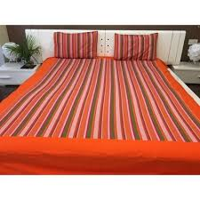 green striped cotton double bed sheet