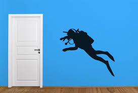 Underwater Scuba Diver Wall Decal Wall Sticker Scuba Diving Etsy