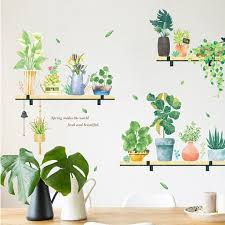 Spring Fresh Green Pot Planting Wall Decal Natural Shelving Botany Wall Stickers Living Room Wall Decor Creative Greenery Leaf Murals Thefuns On Artfire