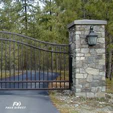 Entry Gate With Faux Stone Posts Contemporary Indianapolis By Faux Direct
