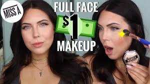 one dollar makeup tutorial full face