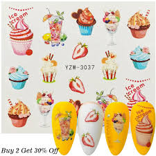 1 Sheet Fruits Water Decals Nail Art Sticker Cake Juice Ice Cream Designs Watermark Slider Nail Wraps Accessories Stickers Decals Aliexpress