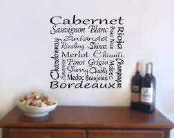 Wine Wall Art Wine Decal Wine Names Bar Decal Wine Wall Etsy
