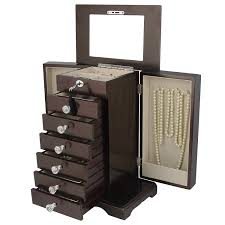 real wood wooden jewelry box locked