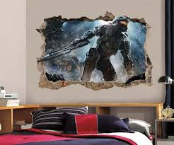 halo master chief smashed wall 3d decal