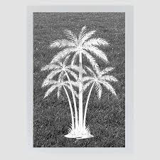Oval Palm Tree Center Reverse Etched Glass Decal Static Cling Window Film World