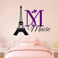Amazon Com Personalized Custom Paris Eiffel Tower Name Wall Decal Sticker Customized Choose Size Color I Love Hearts Handmade