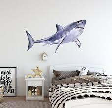 Shark Wall Decal Watercolor Wall Sticker Removable Ocean Sea Fish Wall Art Ebay
