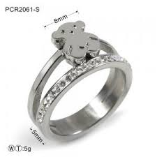 silver snless steel bear cute ring
