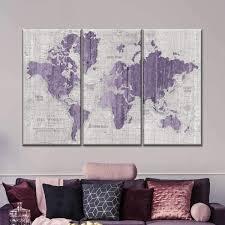 Old World Map Purple Gray Multi Panel Canvas Wall Art Elephantstock