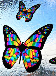Stained Glass Butterflies Window Cling Sunacatcher 3d Vinyl Decal Colorful Iridescent Stained Glass Window Clings Stained Glass Butterfly Glass Butterfly