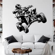 Hot Promo E99847 Vinyl Wall Decal Atv Quad Bike Quadrocycle Atv Race Motor Four Wheeler Bike Racing Rider Wall Stickers For Boys Room Decor C479 Cicig Co