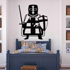 Crusader Warrior Knight Wall Sticker Baby Boy Room Sword Shield Vinyl Wall Decal Living Room Classroom Decoration Art Mural W008 Wall Stickers Aliexpress