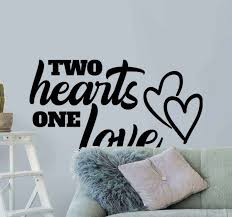 Two Hearts One Love Home Text Wall Decal Tenstickers