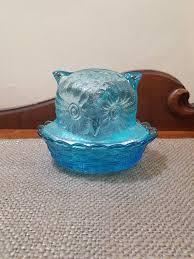 light blue glass owl trinket bowl