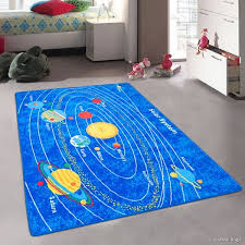 Shop Allstar Kids Baby Room Area Rug Solar System Bright Blue Colorful Vibrant Colors 4 11 X 6 11 Multi Overstock 12496300