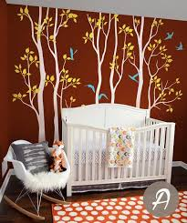 Nursery Tree Wall Decals Vinyl White Tree With Birds Birch Wall Mural Ellaseal